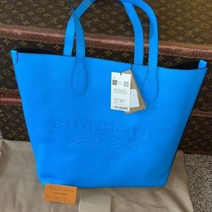 Authentic Burberry neon blue calfskin shopper tote